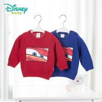 【专区3件7折 到手价:69.3元】迪士尼Disney童装男童毛线衣新款春秋宝宝打底衫长袖纯棉针织衫毛衣181S100