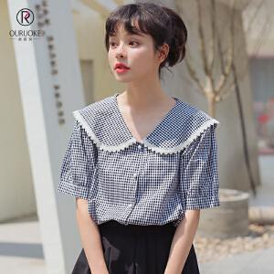 欧若珂  2018夏季新款清新学生装花边翻领甜美格子衬衫女