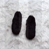 秋冬季网红加绒厚底平底鞋兔毛粗跟白色毛毛鞋单鞋女鞋懒人乐福鞋SN3835 黑色特价(现货) 脚瘦建议买小一码