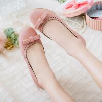 女童公主皮鞋中大童平底单鞋甜美蝴蝶结可爱学生鞋
