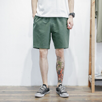 夏季轻薄透气棉麻男士短裤日系青年色水洗沙滩裤宽松中裤