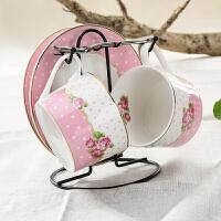 英式下午茶杯子黄金镶边简约茶具欧式宫廷咖啡杯碟勺2件套装
