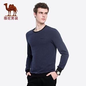 骆驼男装 2018秋季新款青年撞色圆领套头舒适印花日常休闲卫衣男