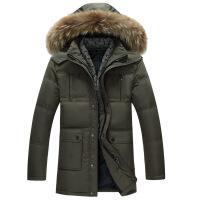 冬季男士中长款中老年羽绒服加厚保暖大码父亲连帽外套毛领爸爸装