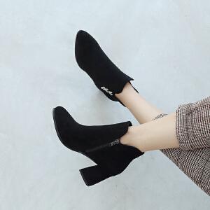 ZHR2018秋冬季新款韩版百搭短靴粗跟裸靴短筒单靴学生尖头女靴子
