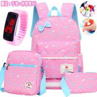 韩版儿童小学生书包女生1-3-5-2-4-6五六年级双肩包防水6-12周岁 蝴蝶结图案三件套--浅粉色 赠送手环手表