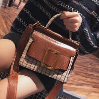欧美时尚手提小包包女2018春季新款凯莉包单肩包简约宽肩带斜挎包