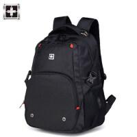 瑞士双肩包男士背包大容量高中学生书包女运动休闲军刀商务电脑包