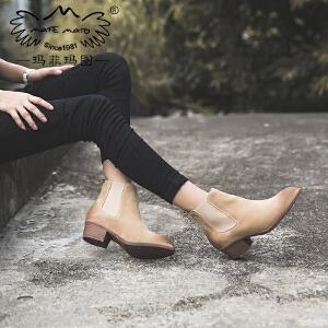 【下单只需要198元】玛菲玛图小短靴女秋季2017新款女靴英伦粗跟单靴裸靴真皮切尔西靴008-2N