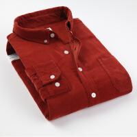 秋冬款纯色全棉灯芯绒衬衫修身韩版男士休闲长袖条绒衬衣大码青年