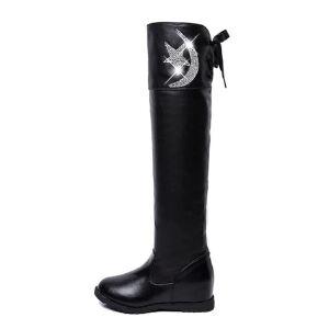 WARORWAR 2019新品YM75-916冬季欧美内增高女鞋潮流时尚潮鞋百搭潮牌靴子长靴过膝靴
