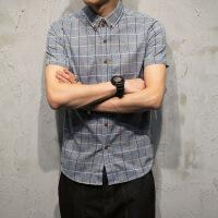 夏季格子衬衫男短袖潮牌休闲男士衬衣修身韩版帅气寸衫男个性衣服