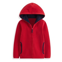 男童外套秋冬连帽童装儿童保暖拉链上衣女大童加绒运动外衣