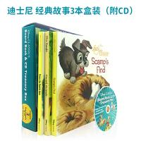 进口英文原版 Disney Classics 迪士尼经典故事3册盒装 纸板书 附CD 独立阅读套装 经典动画故事绘本
