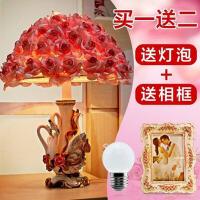 创意婚庆台灯欧式家居卧室婚房床头灯装饰品摆件结婚礼物 按钮开关