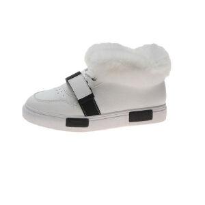 WARORWAR新品YM32-1825加绒春秋休闲松糕底平底舒适拼色女士加绒小白鞋