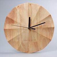 简约实木挂钟客厅大气个性创意现代时尚钟表静音卧室北欧时钟挂表 12英寸