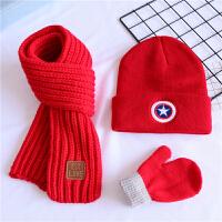 美国队长男童秋冬加绒帽子围巾三件套装儿童女宝宝婴儿保暖针织帽 红色 美国队长+红巾+红手套 均码