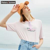 美特斯邦威 短袖T恤女原宿风2018夏装新款打底半袖衫学生上衣韩版