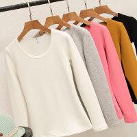 秋冬纯棉加绒打底衫女内搭外穿加厚保暖衣服修身紧身上衣长袖T恤