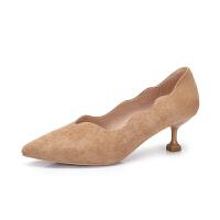 camel 骆驼女鞋 2018春季新品 波浪边尖头细跟单鞋女纯色绒面单鞋女