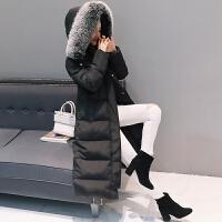 冬季韩国羽绒服女中长款过膝加厚加长大毛领连帽修身外套潮 S (建议95-108斤)
