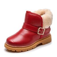 2018冬季女童短靴韩版新款男童雪地靴加绒保暖皮靴小童防滑儿童鞋