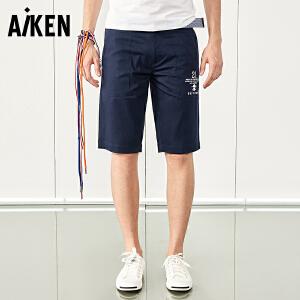 森马旗下Aiken休闲短裤男士夏装新款五分裤子男迷彩潮牌印花黑色裤子