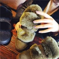 欧洲站冬季新款真皮兔毛雪地靴女魔术贴保暖短靴复古学生平底女鞋
