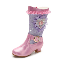 女童高跟靴子2018新款韩版公主棉靴儿童长靴秋冬童鞋小女孩高筒靴