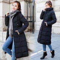反季韩版棉袄羽绒女中长款过膝修身棉衣冬天外套加厚 黑色