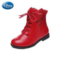 迪士尼disney童鞋17冬季女童马丁靴儿童皮靴加绒保暖时装靴 (7-13岁可选) DS2316