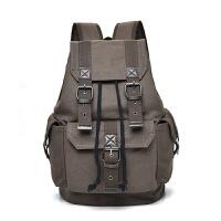 帆布双肩背包男女复古休闲电脑旅行李大容量初高中大学生书包抽带