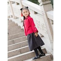 女童汉服秋冬民族服饰加绒儿童唐装女宝宝古装女童中国风童装套装 红色 套装