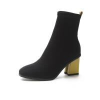 短靴鞋子女2018新款网红女鞋粗跟袜子靴高跟鞋弹力靴马丁靴瘦瘦靴