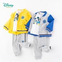 【2.25号秒杀价:107】迪士尼Disney童装 男童米奇运动套装春季棒球服外套纯棉T恤休闲裤子3件套迪士尼宝宝