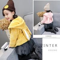 韩版童装冬装新款女童外套连帽上衣纯色毛毛加绒保暖棉衣A2-B2