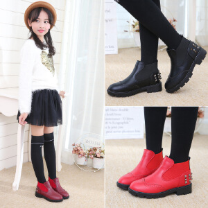 女童短靴单靴中大童铆钉皮靴2018秋冬女童马丁靴棉鞋新款韩版童鞋