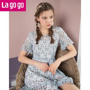 Lagogo/拉谷谷2018夏季新款镂空碎花收腰喇叭袖连衣裙HALL303G52