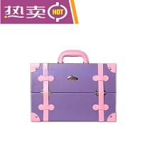 大号大容量美妆箱美甲箱化妆箱手提半纹绣工具箱手提跟妆箱收纳箱 紫色