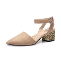 camel 骆驼女鞋 2018春季新款 通勤尖头粗跟单鞋女性感腕带中跟浅口单鞋