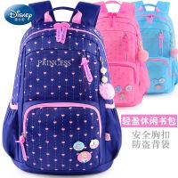 正品迪士尼韩版儿童书包小学生女双肩包1-3-4-6年级减负背包儿童书包8-10-12岁带耳机出孔