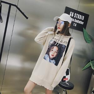 中长款带帽针织衫女春秋新款街头嘻哈风长袖打底衫宽松大码毛衣潮