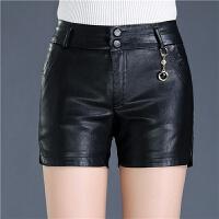 pu皮短裤女秋冬款2018新款韩版高腰修身大码外穿显瘦女士靴裤 黑色