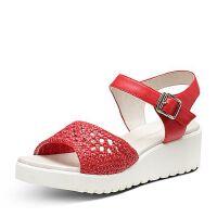 Hush Puppies/暇步士专柜同款夏季编织镂空坡跟简约女凉鞋HLK03BL7