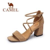 Camel 骆驼女鞋 夏季新款时尚优雅粗跟凉鞋女 学生露趾绑带罗马高跟鞋女