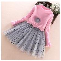 女童毛衣裙连衣裙春秋童装洋气裙子假两件儿童春装公主裙