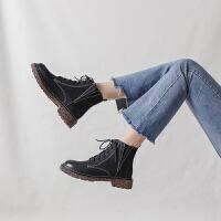靴子女2018秋冬新款韩版chic棕色马丁靴女英伦风学生复古粗跟短靴lkf