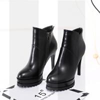 高跟短靴2018秋冬季新款韩版女鞋防水台瘦瘦靴小细跟短筒马丁靴子SN6621 黑色 绒里