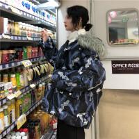 棉袄女冬装韩版ins面包服宽松中长款大毛领棉衣外套 均码